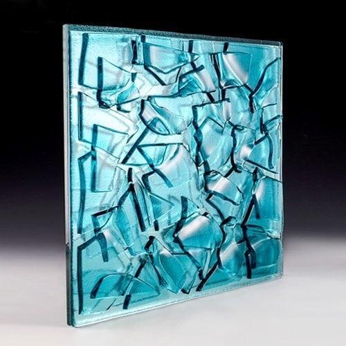 Crackle Aqua Blue Textured Glass