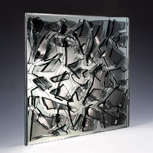 Crackle Black Textured Glass
