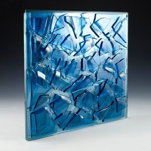 Crackle Blue Textured Glass