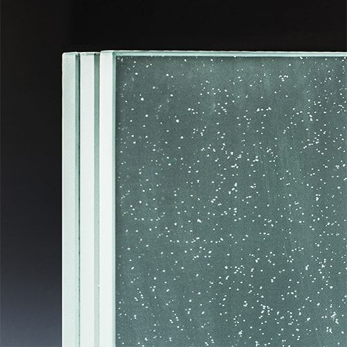 Low iron opacity glass corner