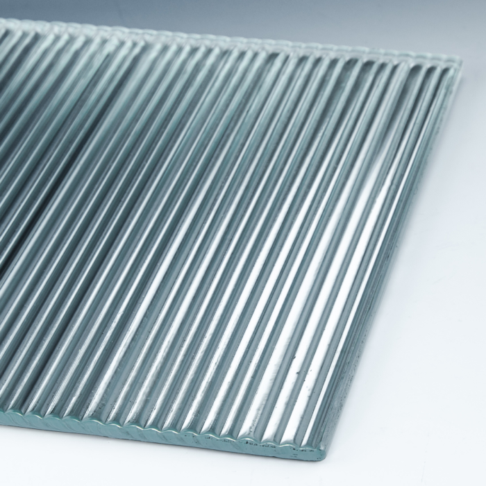 Fluted Low Iron Silvered Glass flat 1