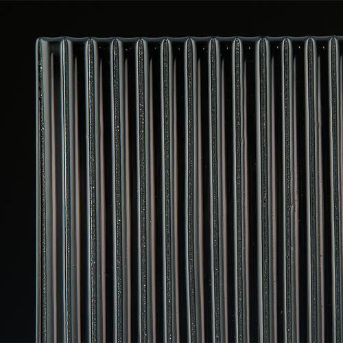 Fluted Silvered Black Glass corner
