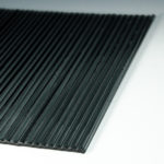 Fluted Silvered Black Glass flat