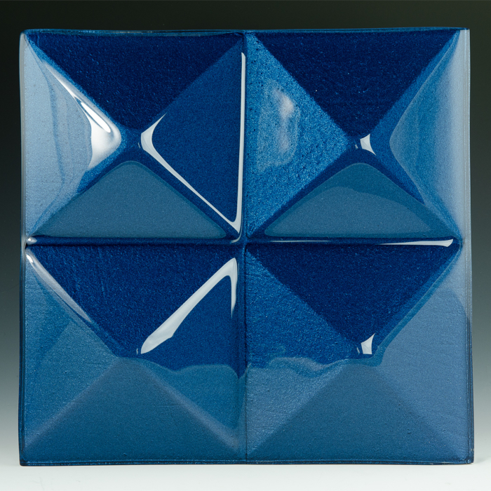 Pyramid Lapis Blue Glass front
