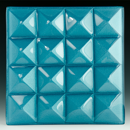 Pyramid Petite Azure Blue Glass front