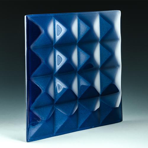 Pyramid Petite Lapis Blue Glass angle