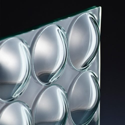 Convex Circles Textured Glass corner
