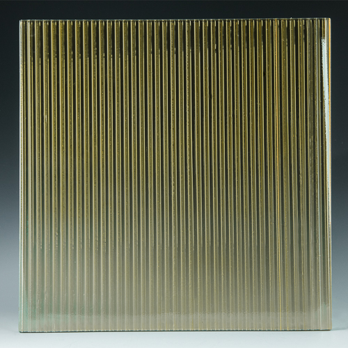 Fluted Champagne Architectural Cast Glass front