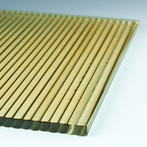 Fluted Champagne Architectural Cast Glass flat